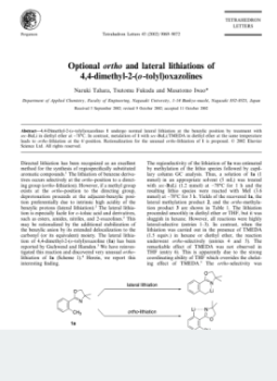 Optional ortho and lateral lithiations of 4,4-dimethyl-2-(o-tolyl)oxazolines